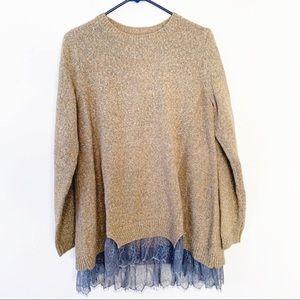 LOGO Lori Goldstein Sweater Knit Top Lace Hem